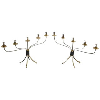 1950s Swedish Josef Frank Brass Candelabras - a Pair
