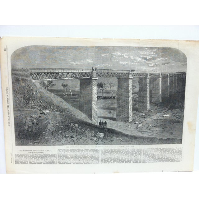 """This is an Antique The Illustrated London News Print that is titled """"The Modrabool Viaduct on the Melbourne and Ballarat..."""