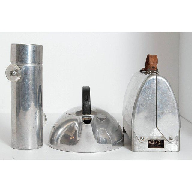 "Art Deco Machine Age Polished Aluminum Industrial Design Classics Konga shaker, with rare clear Lucite handles. ""Don't..."