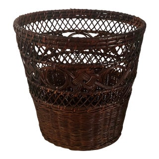 1970s Boho Chic French Vintage Rattan Wicker Waste Basket or Plant Holder For Sale