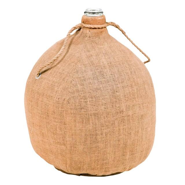 Early 18th Century Large Old Burlap Wrapped Perfume Bottle For Sale