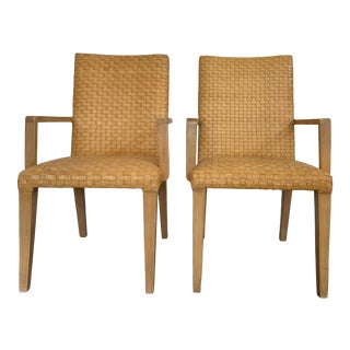 Vintage Woven Leather Chairs- a Pair For Sale