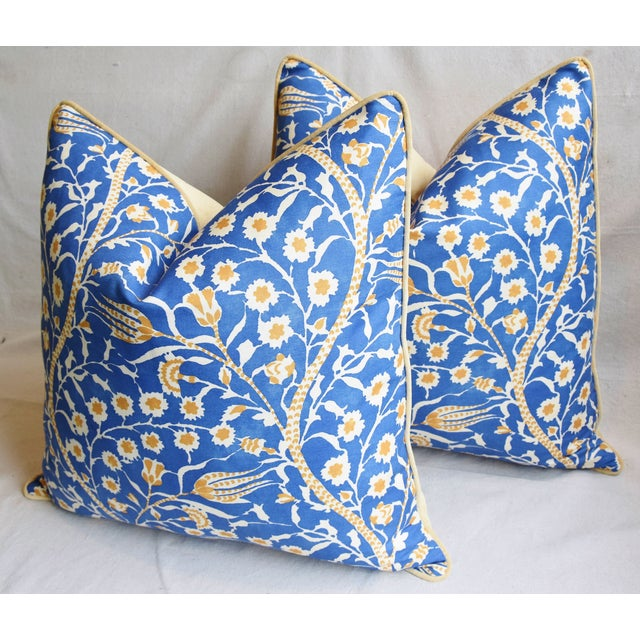 """Blue Clarence House Floral Fabric Feather/Down Pillows 24"""" Square - Pair For Sale - Image 8 of 13"""