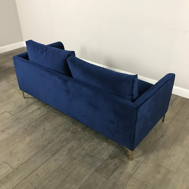 Modern Royal Velvet Navy Blue Sofa - Image 11 of 11