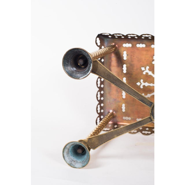 Brass 19th Century Antique Brass Fireplace Rectangular Kettle Trivet W/ Crossbars, Bell Shaped Feet, Pierced Top & Sides For Sale - Image 7 of 10