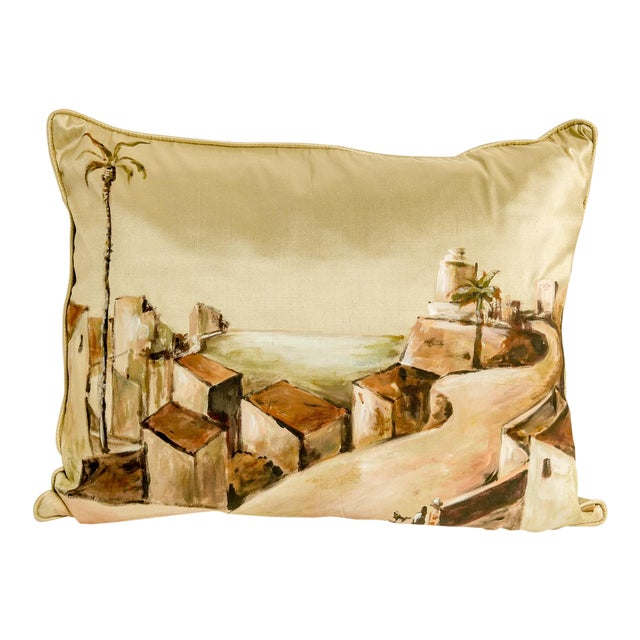 Hand-Painted Custom Thai Silk Pillow For Sale