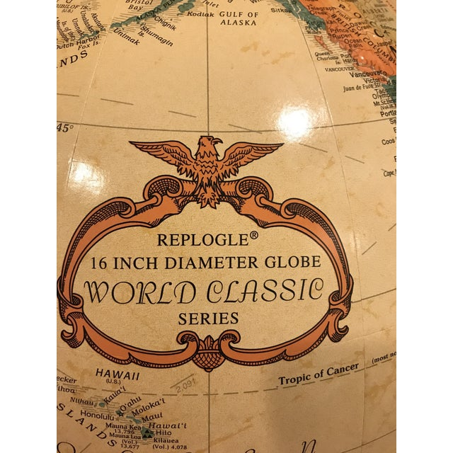 Neoclassical Vintage Replogle Brass and Wood World Globe on Stand For Sale - Image 3 of 9