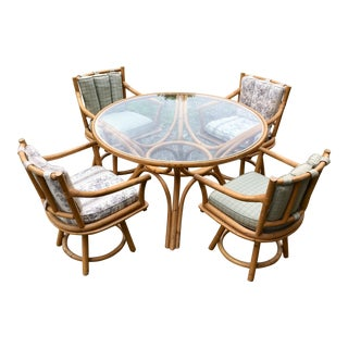 1960s Boho Rattan Chic Ficks Reed Dining Set - 5 Pieces For Sale