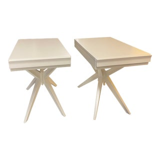 Pair of White Side Tables For Sale