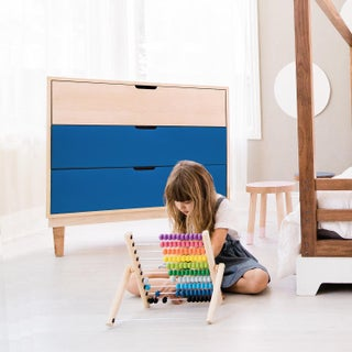 Kabano Modern Kids 3-Drawer Dresser in Maple With Pacific Blue Finish Preview