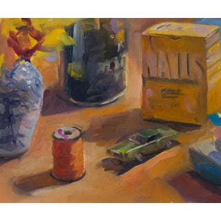 Still Life Orange Spool Oil Painting For Sale
