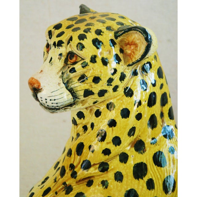 Large Hand-Painted Italain Terracotta Cheetah - Image 9 of 11