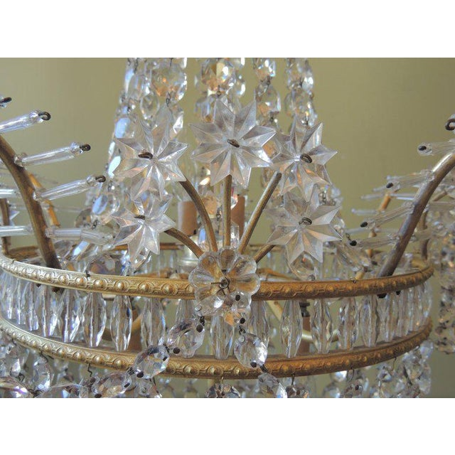 French Early 20th C French Bronze and Crystal Chandelier For Sale - Image 3 of 8