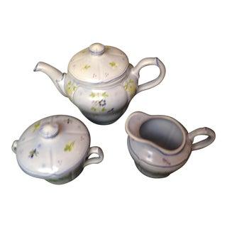 French Haviland, Longchamp, Printemps Teapot, Cream & Sugar For Sale