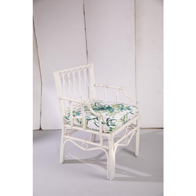 1950s Vintage White Rattan Armchair For Sale - Image 13 of 13