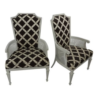 Painted White Regency Chairs With Cane Detail and Bamboo Front Work Fabric - a Pair