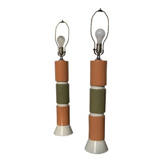 1950s Mid Century Modern Lamps Orange Avocado - a Pair For Sale