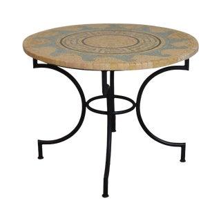 Sunburst Custom Round Tessellated Mosaic Stone Top Iron Base Bistro Table For Sale