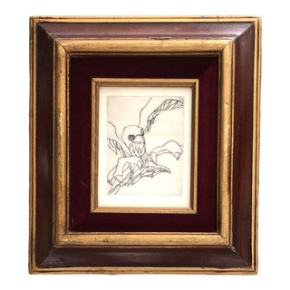 Original Vintage Modernist Miniature Abstract Bird Etching 1950's For Sale