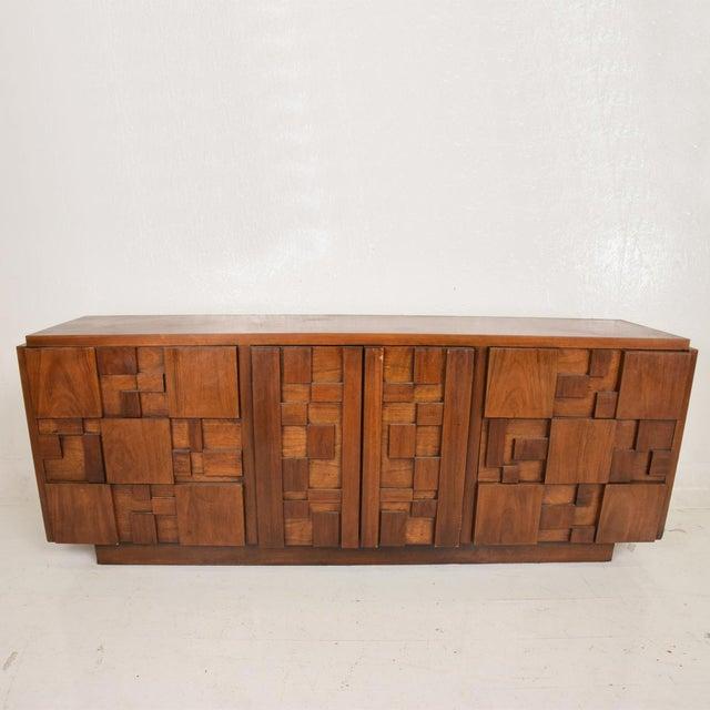 Brutalist Mid-Century Modern Brutalist Patchwork Walnut Tiles Dresser by Lane For Sale - Image 3 of 10