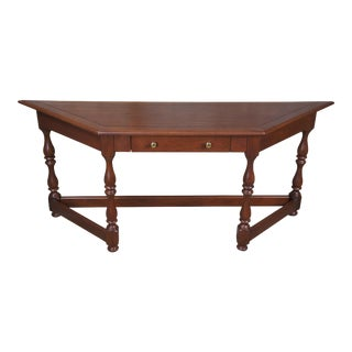 Early American Solid Oak Console Table For Sale