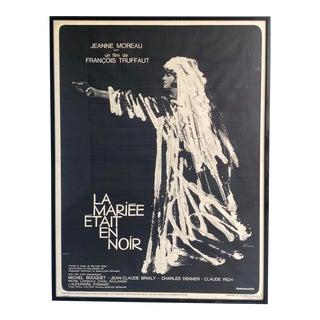 """Rare Vintage Monumental Boho French Movie Poster """"La Mariee Etait en Noir For Sale"""