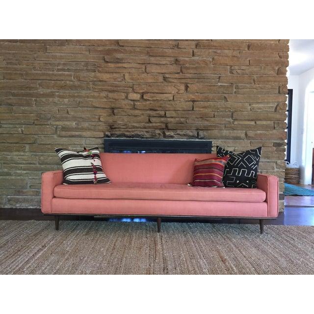 Salmon Mid Century Sofa For Sale - Image 5 of 6