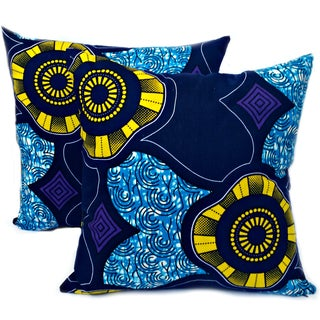 Seaside African Dutch Wax Pillow Covers - A Pair