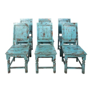 Swedish Blue Painted Chairs - Set of 6 For Sale