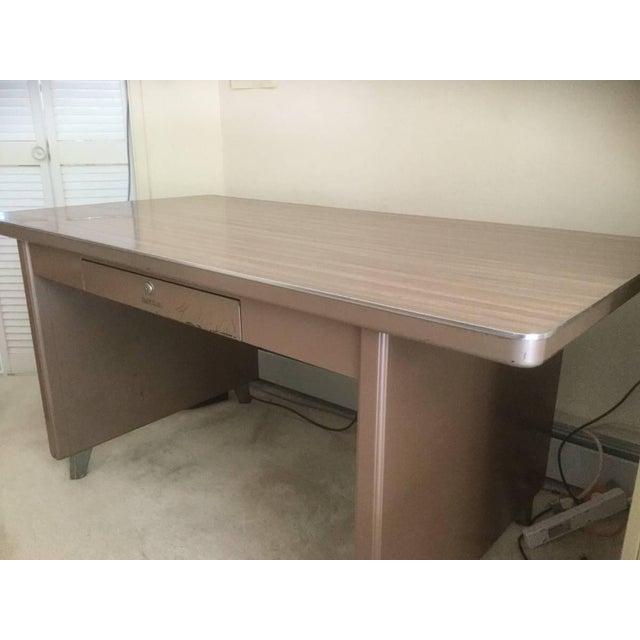 1940 S Mid Century Modern Shaw Walker Metal Writing Desk