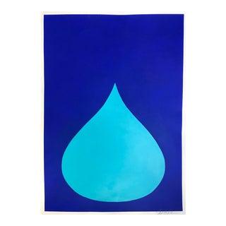 Fat Drop of Aqua on Ultramarine Original Painting by Stephanie Henderson
