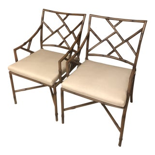 1980s Vintage Aluminum Faux Bamboo Arm Chairs- A Pair For Sale