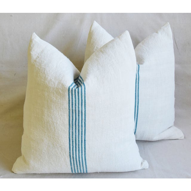 """Aqua Striped French Homespun Grain Sack Textile Feather/Down Pillows 21"""" Square - Pair For Sale - Image 12 of 13"""