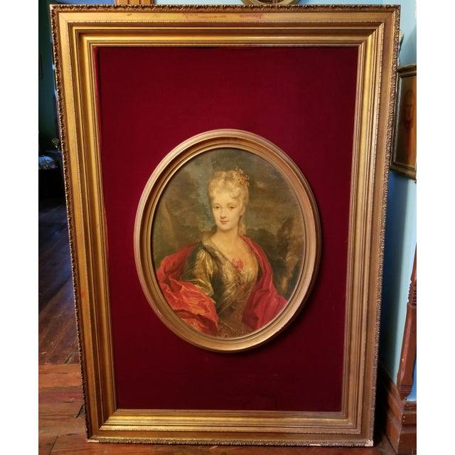 Wood Victorian Lady Matted Red Velvet Framed Portrait Print For Sale - Image 7 of 7
