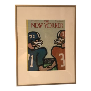 "1960 ""Football Handshake"" New Yorker Cover by Abe Birnbaum, Framed For Sale"