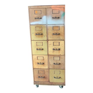 Vintage Industrial Rolling 10-Drawer Metal File Cabinet For Sale