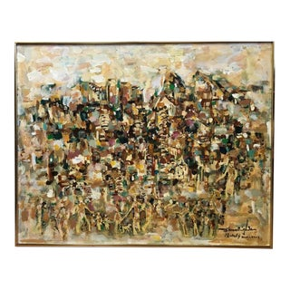 Vintage Original Abstract Oil Painting City Scene Figural, Signed Shookingham For Sale