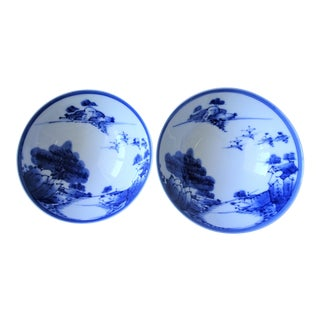 Japanese Blue and White Porcelain Rice Bowls - a Pair