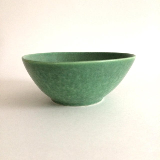 "Lovely little pottery bowl by Royal Haeger with a matte green finish, from the 1930s. ""RG 37"" on the base. Rounded..."