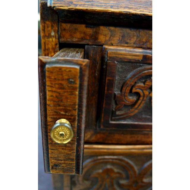 Ornate Hand Carved Oak Secretary Desk - Image 5 of 7