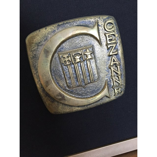 Mid-Century Modern Mid-Century Vintage Cezanne Bronze Plaque With Handpainted Frame For Sale - Image 3 of 4