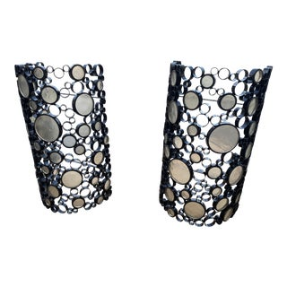 Modern Circular Mirrored Glass Sconces - a Pair For Sale