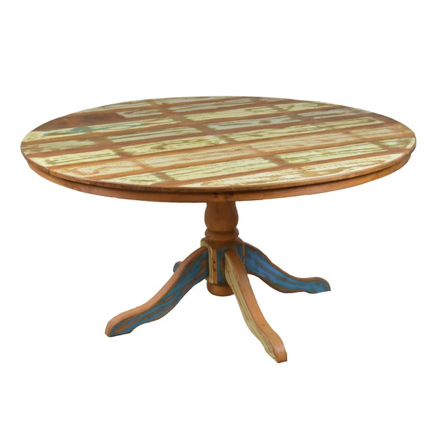 Anglo-Indian Reclaimed Wood Dining Set For Sale - Image 3 of 7