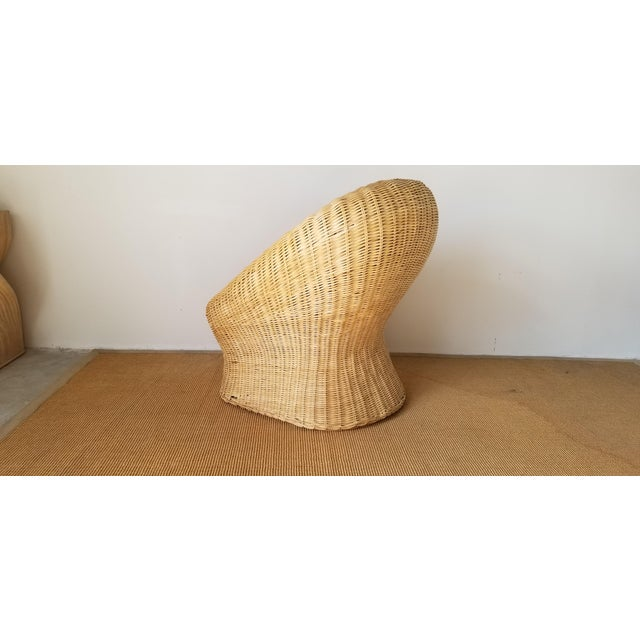 1980s Vintage Woven Wicker Club Chair For Sale - Image 5 of 11