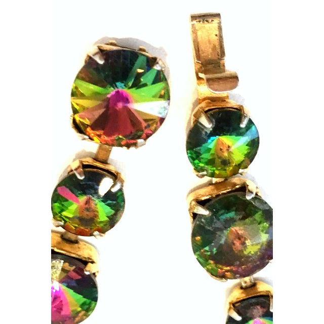 Green 20th Century Gold Plate & Austrian Crystal Rivoli Watermelon Link Bracelet For Sale - Image 8 of 11