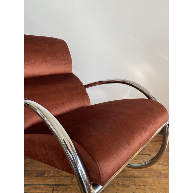 Mid-Century Modern Mid Century Chrome Rocking Chair in Rust Velvet For Sale - Image 3 of 8