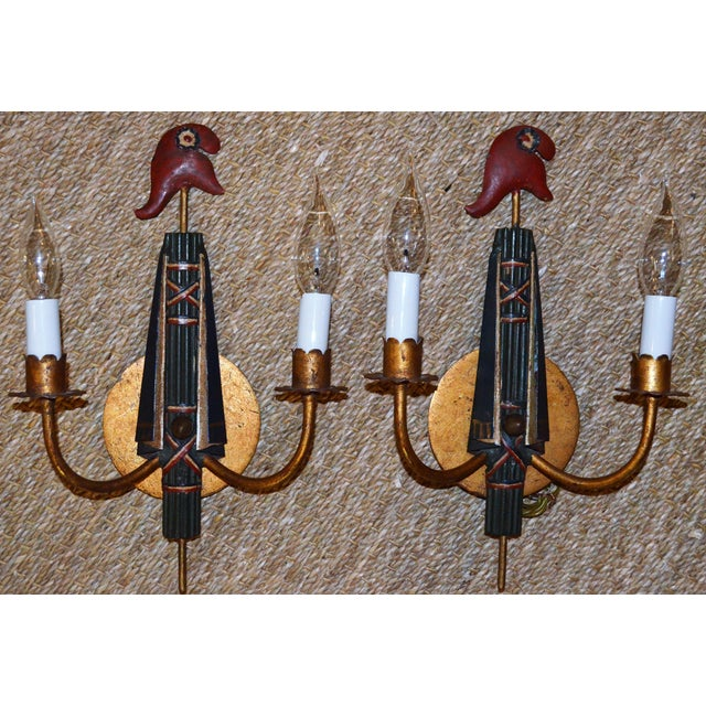 This is a very fun and unique set of French Regency Tole Wall Sconces. These sconces are in the Directoire Style with a...