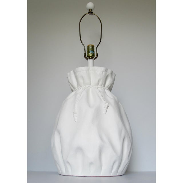 Boho Chic John Dickinson-Style Draped Plaster Rope Cinched Lamp For Sale - Image 3 of 13