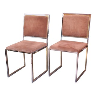 Mid 20th Century Brass and Chrome Chairs Styled After Willy Rizzo - a Pair For Sale