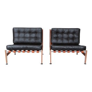 Pair of Mid Century Mexican Modernist Lounge Chairs Barcelona Style For Sale